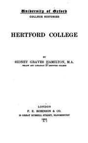 Cover of: Hertford college | Sidney Graves Hamilton