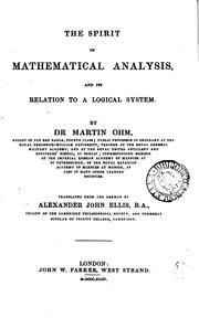 Cover of: The spirit of mathematical analysis