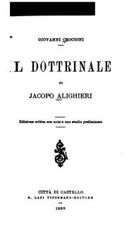 Cover of: Il dottrinale di Jacopo Alighieri