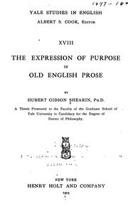 Cover of: The expression of purpose in Old English prose