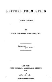 Cover of: Letters from Spain in 1856 and 1857
