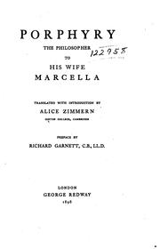 Cover of: Porphyry, the philosopher, to his wife, Marcella