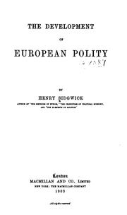 Cover of: The development of European polity