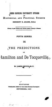 Cover of: The predictions of Hamilton and De Tocqueville