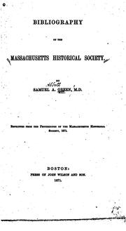 Cover of: Bibliography of the Massachusetts Historical Society