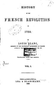 Cover of: History of the French Revolution of 1789