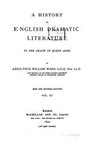 Cover of: A history of English dramatic literature to the death of Queen Anne