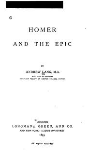 Cover of: Homer and the epic