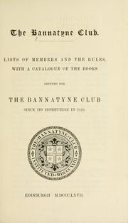 Cover of: Lists of members and the rules | Bannatyne Club (Edinburgh, Scotland)