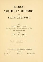 Cover of: Early American history for young Americans | Sabin, Henry