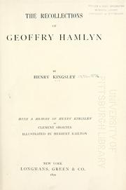 Cover of: The recollections of Geoffry Hamlyn