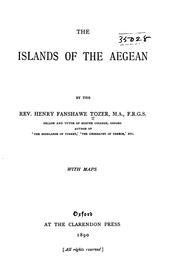 Cover of: The islands of the Aegean