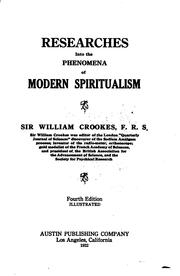Cover of: Researches into the phenomena of modern spiritualism | Crookes, William Sir