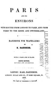 Cover of: Paris and its environs | Karl Baedeker (Firm)