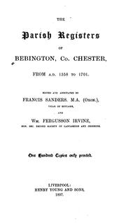 Cover of: The parish registers of Bebington, Co. Chester | Bebington, Eng. (Parish)