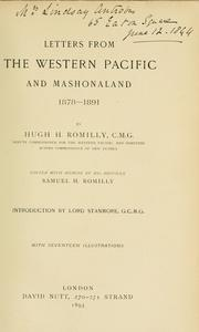 Cover of: Letters from the western Pacific and Mashonaland 1878-1891 | Hugh Hastings Romilly