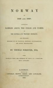 Cover of: Norway in 1848 and 1849