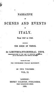 Cover of: Narrative of scenes and events in Italy