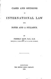 Cover of: Cases and opinions on international law