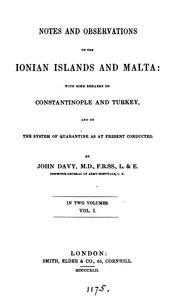 Cover of: Notes and observations on the Ionian Islands and Malta