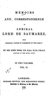 Cover of: Memoirs and correspondence of Admiral Lord De Saumarez