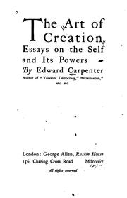 Cover of: art of creation | Carpenter, Edward