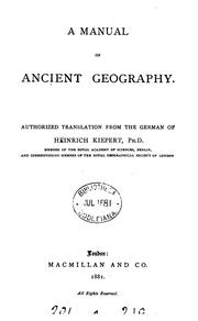 Cover of: A Manual of Ancient Geography