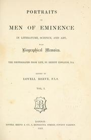 Cover of: Portraits of men of eminence in literature, science, and art, with biographical memoirs | Lovell Reeve