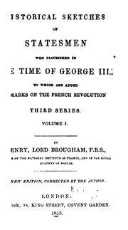 Cover of: Historical sketches of statesmen who flourished in the time of George III