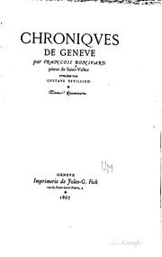 Cover of: Chroniqves de Genève