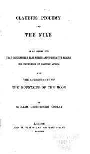Cover of: Claudius Ptolemy and the Nile | William Desborough Cooley