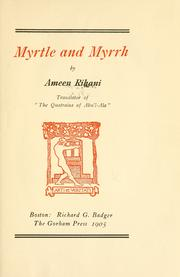 Cover of: Myrtle and myrrh