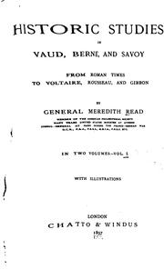Cover of: Historic studies in Vaud, Berne, and Savoy | John Meredith Read