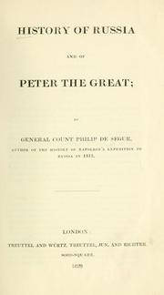 Cover of: History of Russia and of Peter the Great