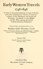 Cover of: Nuttall's Journal of travels into the Arkansa territory October 2, 1818-February 18, 1820