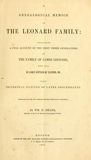 Cover of: genealogical memoir of the Leonard family | William Reed Deane