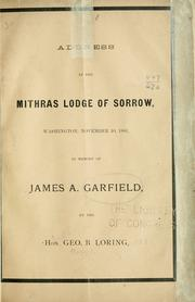 Cover of: Address at the Mithras Lodge of Sorrow, Washington, November, 10, 1881
