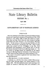 Cover of: ...Supplementary list of marriage licenses