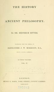 Cover of: history of ancient philosophy. | Heinrich Ritter