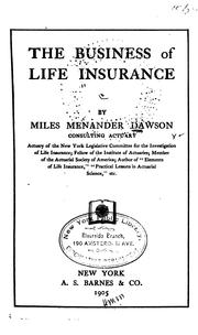Cover of: The business of life insurance