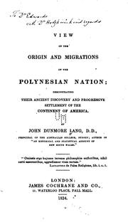 Cover of: View of the origin and migrations of the Polynesian nation | John Dunmore Lang