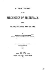 Cover of: A text-book on the mechanics of materials