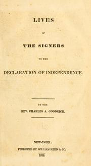 Cover of: Lives of the signers to the Declaration of Independence