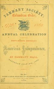 Cover of: Celebration at Tammany hall, on Saturday, July 4, 1863. | Tammany Society, or Columbian Order (N.Y.)