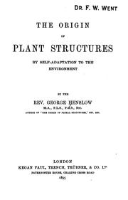 Cover of: The origin of plant structures by self-adaptation to the environment