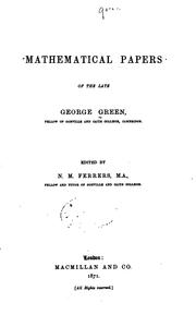 Cover of: Mathematical papers of the late George Green