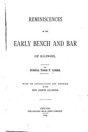 Cover of: Reminiscences of the early bench and bar of Illinois. | Usher F. Linder