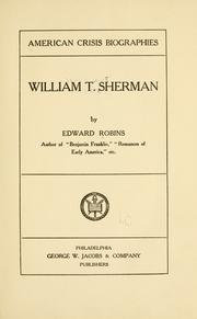 Cover of: William T. Sherman | Robins, Edward