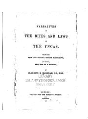 Cover of: Narratives of the rites and laws of the Yncas |