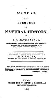 Cover of: A manual of the elements of natural history